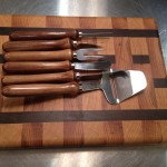 End grain cheese board and cutlery